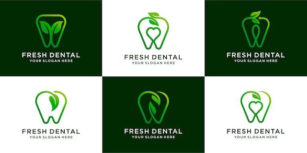 Conjunto de verde dental com folha natureza cuidados logo design dental premium vector