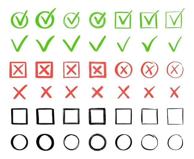 Conjunto de verificação verde e cruz vermelha. estilo de esboço do doodle desenhado de mão. vote, sim, nenhum conceito desenhado. caixa de seleção, marca cruzada com quadrado, elemento de círculo. ilustração vetorial.