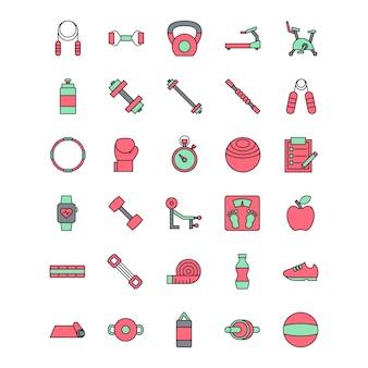 Conjunto de vermelho e verde fitness icon vector