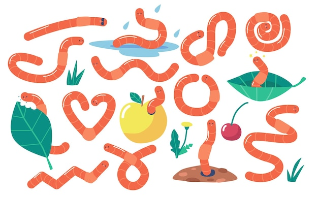 Conjunto de vermes da terra, minhocas do solo, insetos lagarta. criatura de vida selvagem da natureza, vermes de invertebrados de jardim comendo folha verde ou maçã isolada no fundo branco. ilustração em vetor de desenho animado