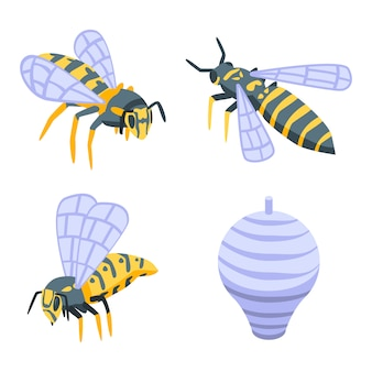 Conjunto de vespas, estilo isométrico