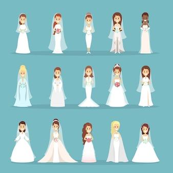 Conjunto de vestido de noiva. mulheres em diferentes vestidos brancos.