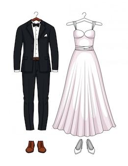 Conjunto de vestido e terno de casamento