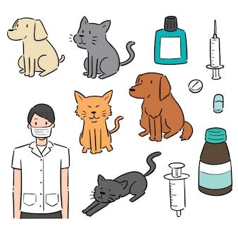 Conjunto de veterinário, animal e equipamento
