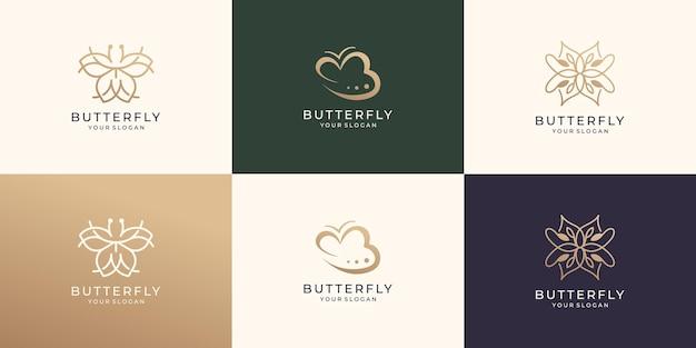 Conjunto de vetor abstrato de modelo de logotipo de borboleta