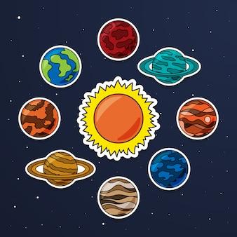 Conjunto de vetor adesivo sistema solar. coleção de vetores de planetas