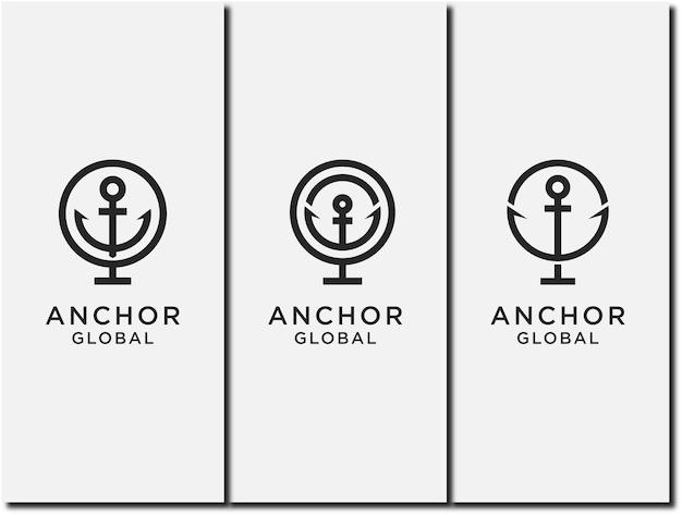 Conjunto de vetor âncora de modelo e combinação de logotipo planetário