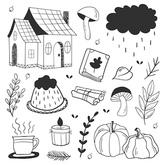 Conjunto de vetor bonito outono mão desenhada. coleção de outono. doodles da coleção de outono