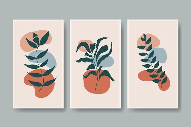 Conjunto de vetor botânico folhagem planta folha parede arte handdrawn