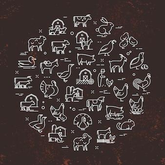 Conjunto de vetor circular de animais da fazenda