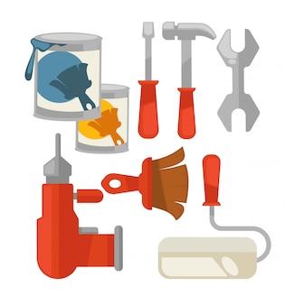 Conjunto de vetor colorido de ferramentas de construção isolado no branco