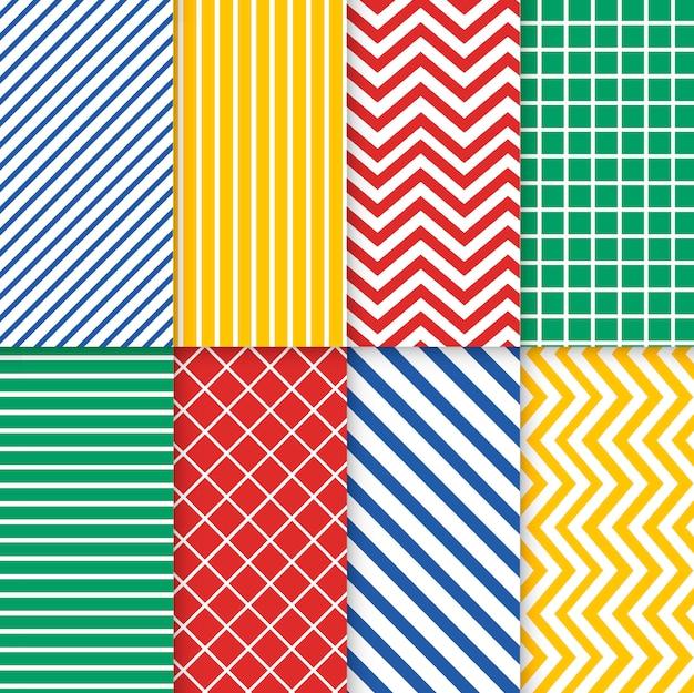Conjunto de vetor colorido padrão sem emenda misto