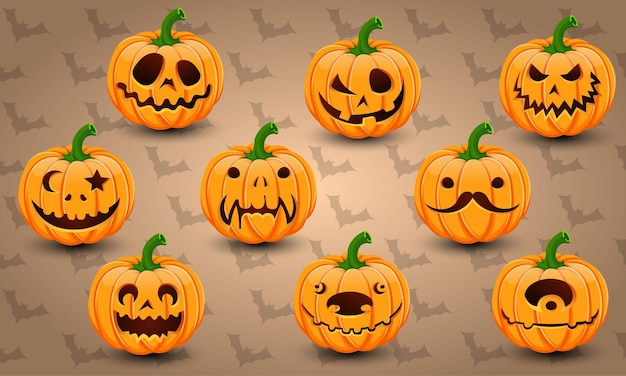 Conjunto de vetor de abóboras de halloween de rosto
