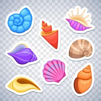 Conjunto de vetor de adesivos de conchas do mar. mar de barquinho colorido, ilustração da concha do mar adesivo