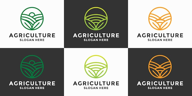 Conjunto de vetor de agricultura design de logotipo de agricultura