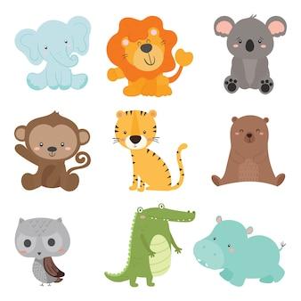 Conjunto de vetor de animais selvagens animais fofos