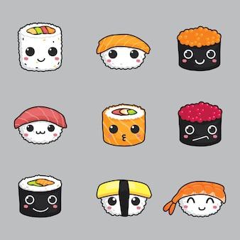 Conjunto de vetor de cara de sushi bonito