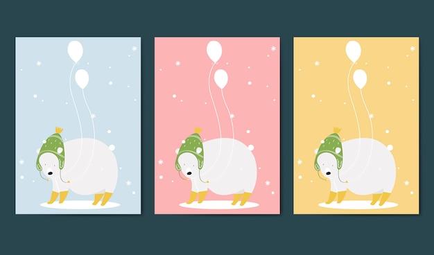 Conjunto de vetor de cartão de convite com tema animal