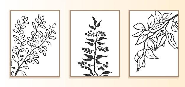Conjunto de vetor de colagem de pôster moderno com ilustração de plantas estilo escandinavo