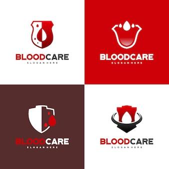 Conjunto de vetor de conceito de design de logotipo blood shield, modelo de design de logotipo blood care, ícone, símbolo