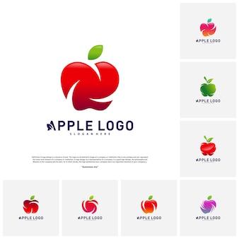 Conjunto de vetor de conceito de design de logotipo de apple