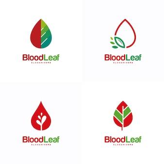 Conjunto de vetor de conceito de design de logotipo de folha de sangue, modelo de design de logotipo de doador, conceito de design, logotipo, elemento de logotipo para modelo