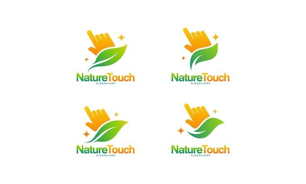 Conjunto de vetor de conceito de design de logotipo nature touch, ilustração vetorial de design de logotipo leaf e cursor