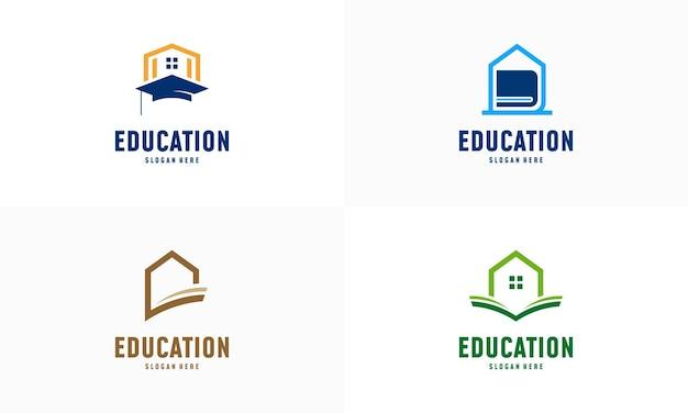 Conjunto de vetor de conceito de projetos de logotipo de aprendizagem em casa. modelo de logotipo de educação domiciliar, símbolo imobiliário