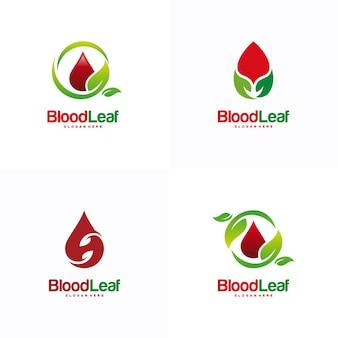 Conjunto de vetor de conceito de projetos de logotipo de folha de sangue projetos de logotipo de doador modelo de design de conceito de logotipo elemento de logotipo para o modelo