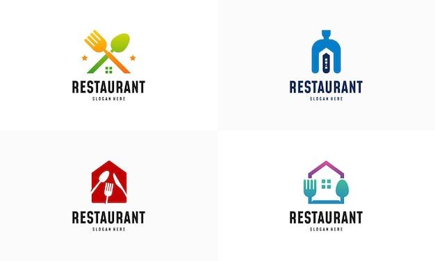 Conjunto de vetor de conceito de projetos de logotipo de modern food house, ícone de símbolo de logotipo de restaurante