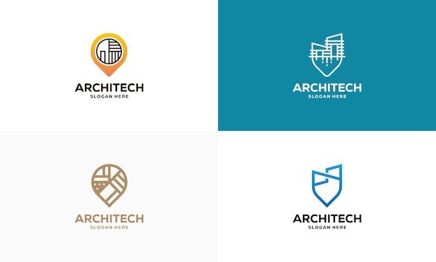 Conjunto de vetor de conceito de projetos de logotipo de ponto de casa de construção, ícone de símbolo de modelo de logotipo de construção, símbolo de logotipo de imóveis