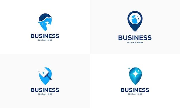 Conjunto de vetor de conceito de projetos de logotipo de ponto de serviço de limpeza, ícone de símbolo de logotipo de ponteiro e ferramenta de limpeza