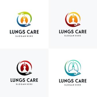 Conjunto de vetor de conceito de projetos de logotipo lungs care, modelo de projetos de logotipo health lungs
