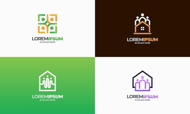 Conjunto de vetor de conceito de projetos de logotipo moderno outline property community, modelo de logotipo de comunidade imobiliária