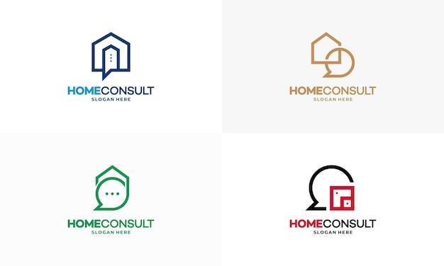 Conjunto de vetor de conceito de projetos de logotipo property consult, modelo de logotipo house consulting agent, símbolo de logotipo imobiliário