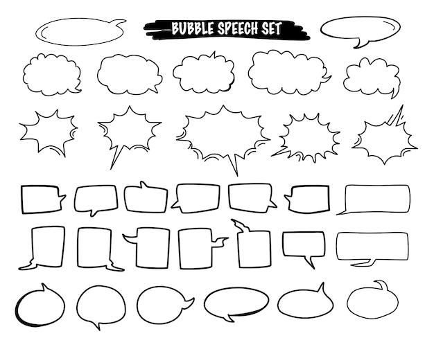 Conjunto de vetor de desenhos animados de discurso bolha na mão desenhada estilo