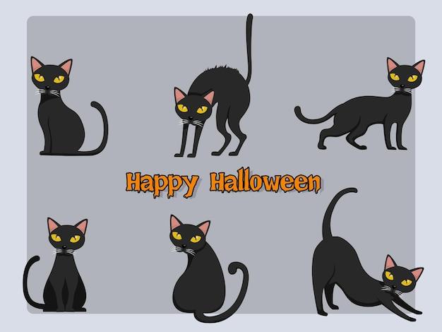 Conjunto de vetor de desenhos animados de gato halloween em segundo plano. elementos de design de halloween