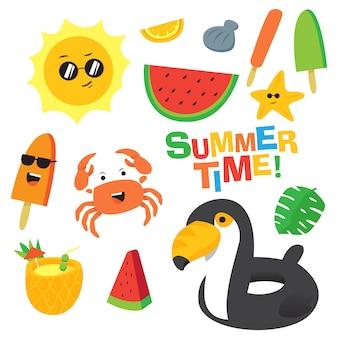 Conjunto de vetor de desenhos animados de horário de verão colorido