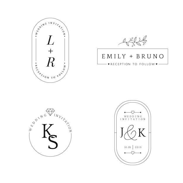 Conjunto de vetor de design de distintivo de convite de casamento