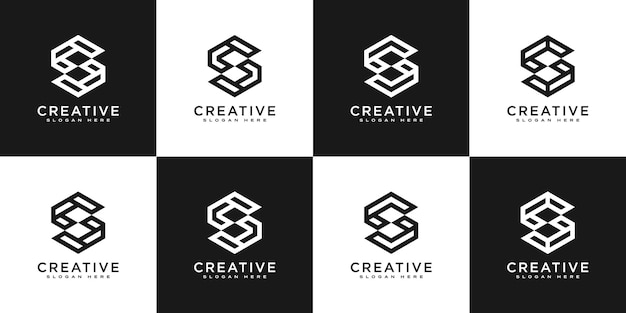 Conjunto de vetor de design de logotipo de hexágono da letra inicial s