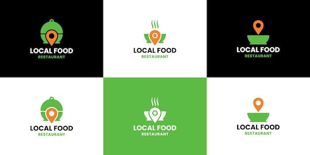Conjunto de vetor de design de logotipo de localização de alimentos