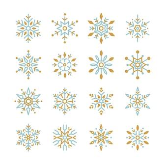Conjunto de vetor de design de natal de flocos de neve
