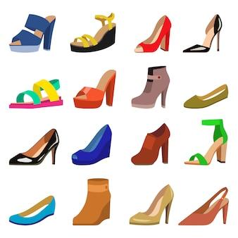 Conjunto de vetor de design plano de sapatos das mulheres.