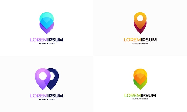 Conjunto de vetor de designs de logotipo de ponto de pino moderno, símbolo de ícone de modelo de logotipo de navegação de ponteiro