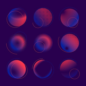 Conjunto de vetor de distintivo de meio-tom azul e rosa