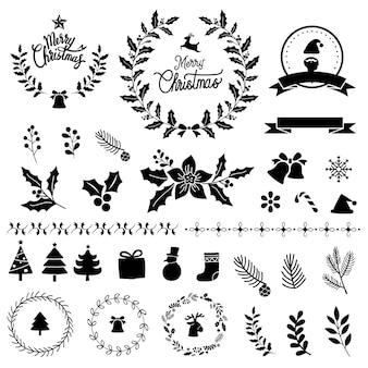 Conjunto de vetor de elementos de design de natal