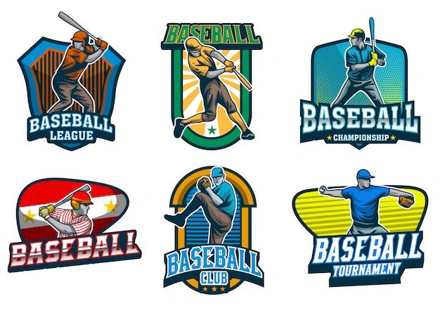 Conjunto de vetor de emblema de jogador de beisebol