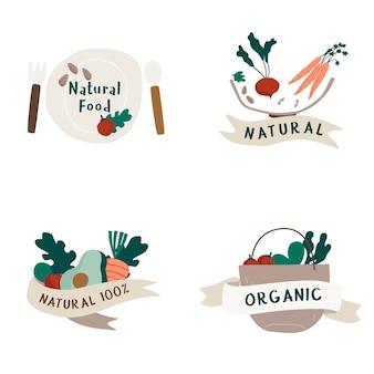 Conjunto de vetor de emblemas de alimentos orgânicos e naturais