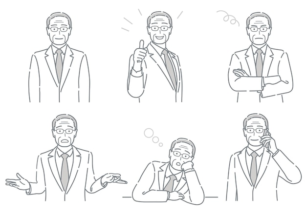 Conjunto de vetor de empresário com diferentes poses expressando uma variedade de emoções