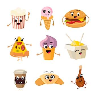 Conjunto de vetor de fast food engraçado dos desenhos animados